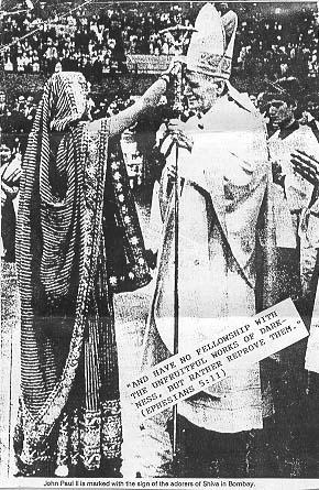 Ecumenism interfaith 17 pope john paul ii receives the mark of aarti a prayer to the hindu goddess durga fandeluxe Choice Image